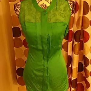 Green button down with sheer panels